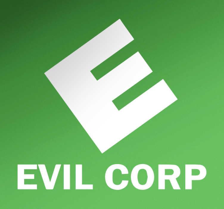TenStickers. Adesivo decorativo Evil Corp. Adesivi per amanti delle serie tv con il logo della corporazione di malvagi, una multinazionale fittizia della serie di successo statunitense Mr.Robot