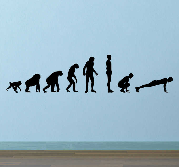 TenStickers. Evolutionary Burpee Wall Sticker. Motivational wall sticker. Funny version of the well-known evolutionary trajectory, replaced with a burpee at the end