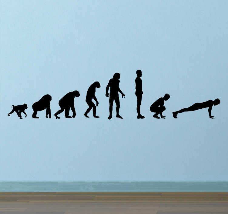 TenStickers. Naklejka dekoracyjna ewolucja do burpee. Motywacyjna naklejka ścienna,która doskonale sprawdzi się w każdej siłowni czy w domu osoby aktywnej sportowo.