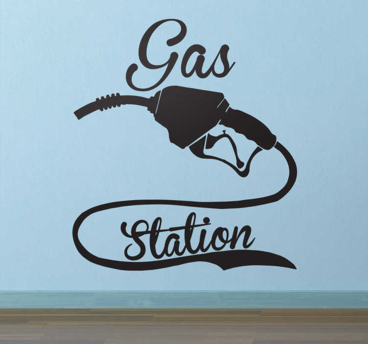 TenVinilo. Vinilo decorativo gas station. Vinilos retro con el dibujo de una manguera de gasolinera y un texto caligráfico en inglés alrededor de la misma.