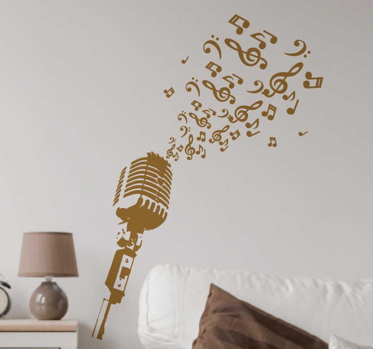 TenStickers. 마이크와 음표 벽 장식. 음악 벽 스티커 - 엘비스 프레슬리와 프랭크시나 트라가 사용하는 빈티지 마이크. 빈티지 벽 스티커의 우리의 수집에서.