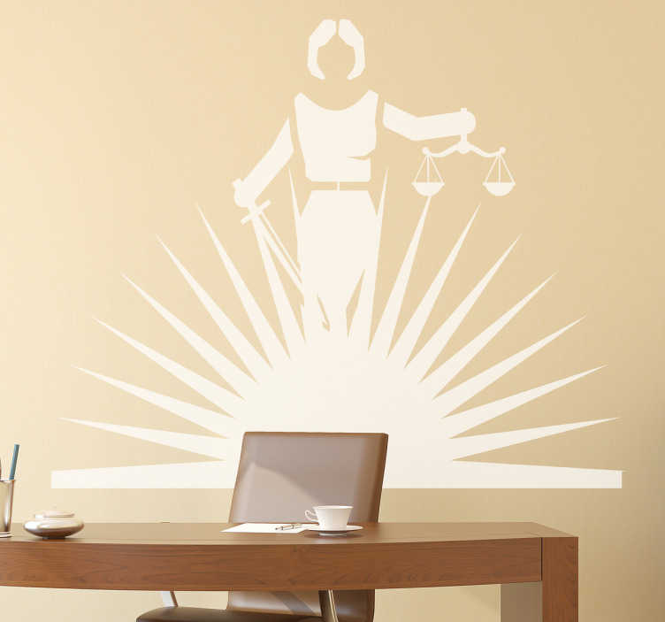 TenStickers. Shining Lady Justice Wall Sticker. Simple but effective legal wall sticker showing a monochrome design of Lady Justice being lit by rays of light from below, perfect for decorating any office or law firm to give a more professional atmosphere.