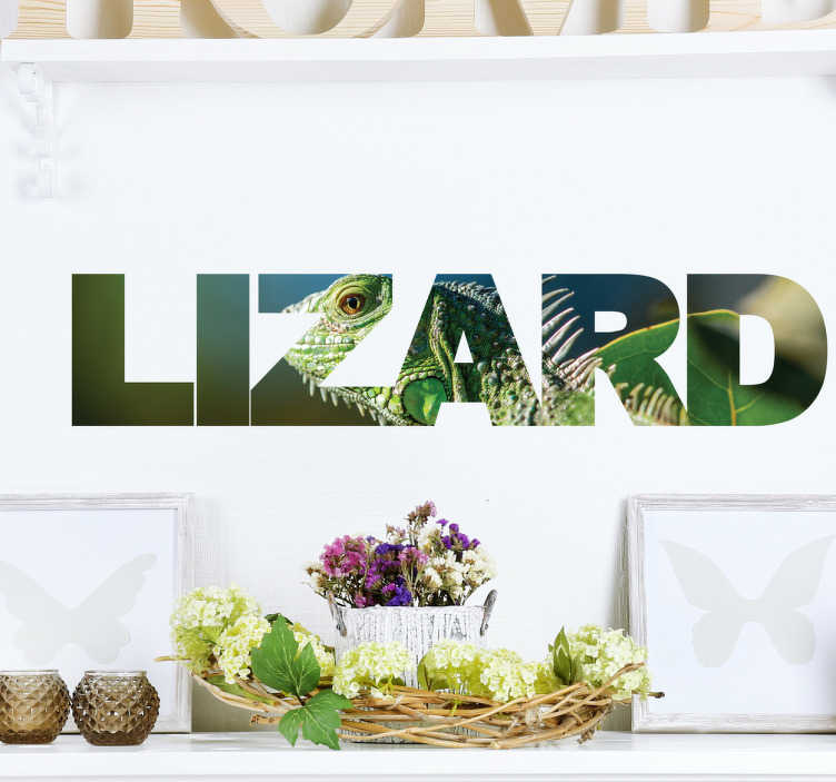 "TenStickers. Gecko Lizard Wall Sticker. This wall sticker consists of the word ""lizard"" however the text is filled in with an image of a gecko lizard in the wild."