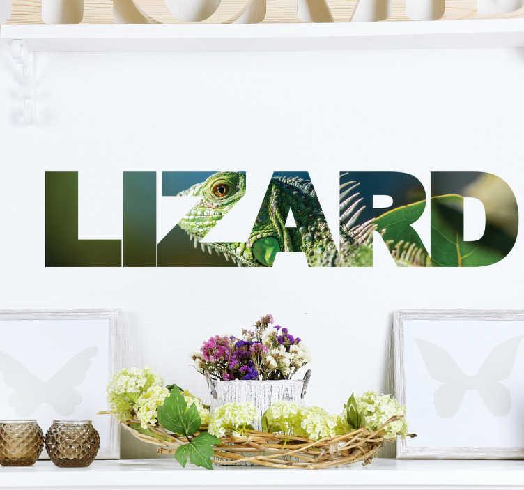 TenVinilo. Vinilo decorativo texto réptil. Vinilos murales de animales con un texto en inglés ilustrado con una espectacular fotografía de un camaleón.