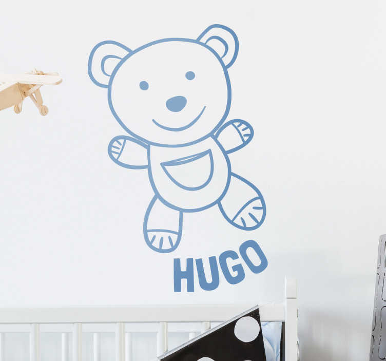 TenStickers. Personalised Teddy Bear Wall Sticker. This wall sticker consists of a cute Teddy Bear smiling, with the personalised name located below the teddy.