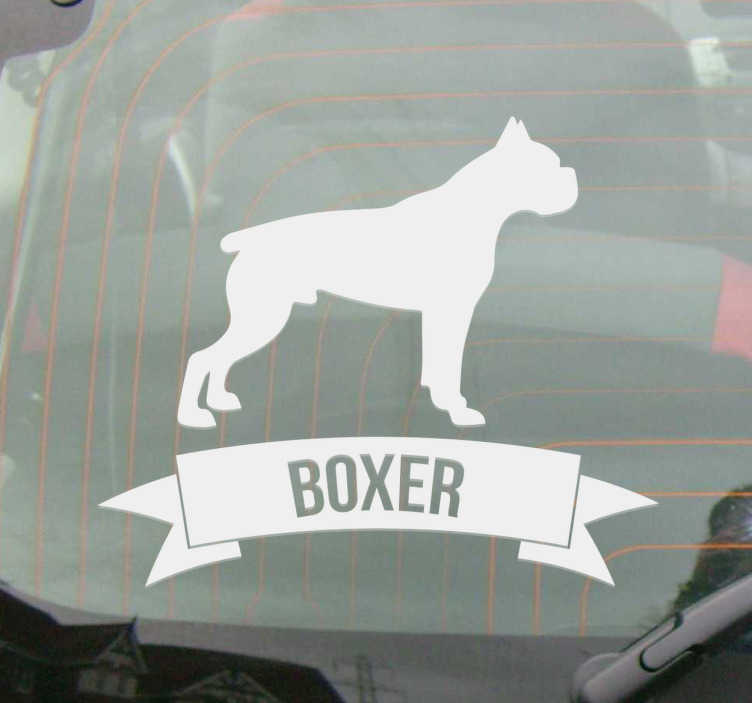 TenStickers. Boxer Dog Wall Sticker. This silhouette wall sticker consists of a boxer dog. Under the dog is a banner with the name of the breed (Boxer).
