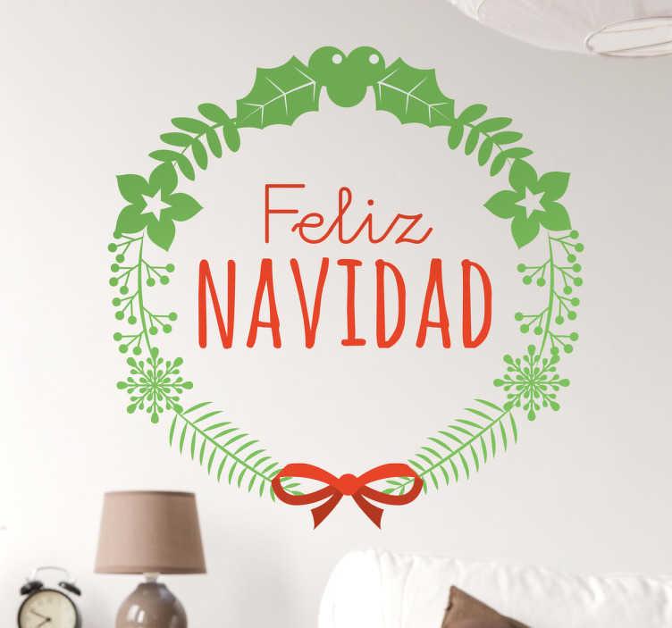 TenVinilo. Vinilos decorativos corona feliz navidad. Vinilos decoración Navidad para ambientar con estilo cualquier habitación de tu hogar estas próximas fiestas.