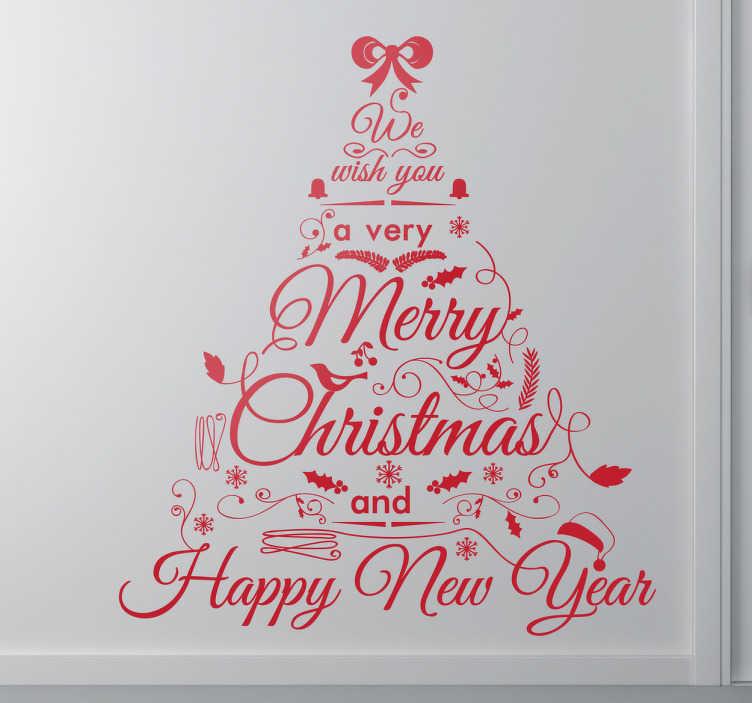 TenStickers. Naklejka dekoracyjna choinka ze słów. Piękna naklejka dekoracyjna przedstawiająca choinkę ze słów życzącą Wesołych Świąt.