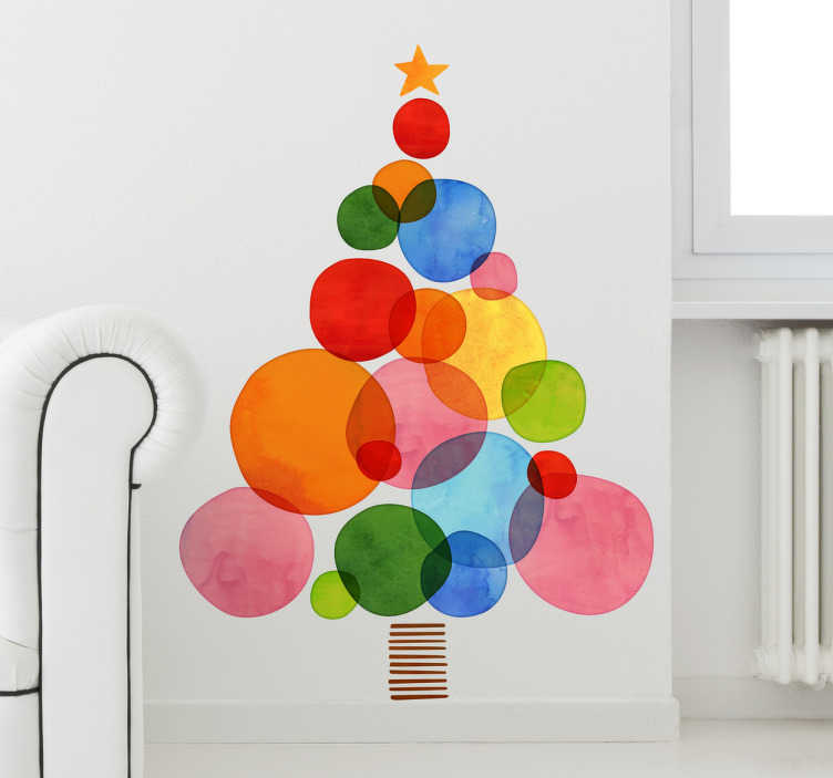 TenStickers. Colourful Christmas Tree Sticker. Colourful Christmas Tree wall sticker perfect for decorating your living room, dining room or bedroom during the Xmas holidays. This vibrant tree wall sticker is made up of multiple different coloured circles and a star.