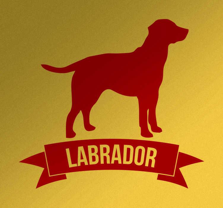 TenStickers. Naklejka ścienna Labrador. Naklejka ścienna prezentująca psa rasy labrador,któremu towarzyszy wstażka z nazwą rasy psa.