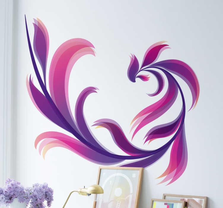 TenStickers. Naklejka ścienna abstrakcyjny kwiat. Abstrakcyjna naklejka na ścianę która wprowadzi kolor i życie do Twojego mieszkania.
