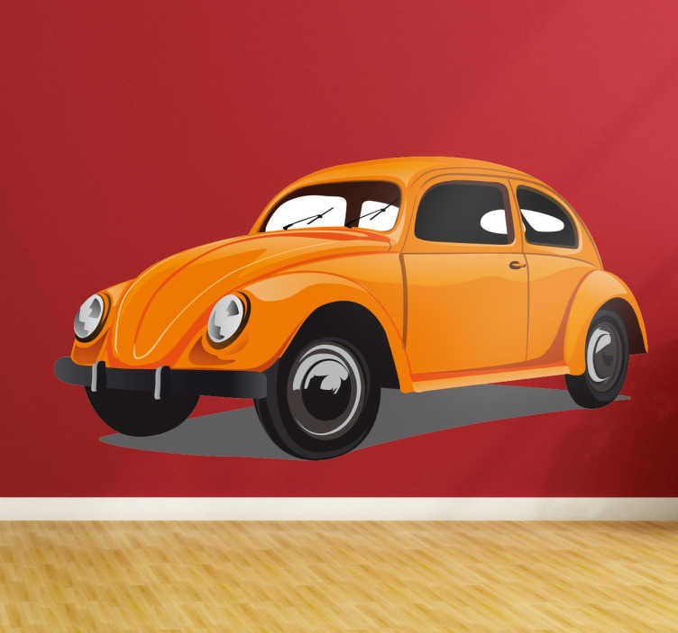 TenStickers. Muursticker van retro Volkswagen Kever. Muursticker met een retro ontwerp van een Volkswagen kever, wie herkent dit klassieke wagentje nou niet?