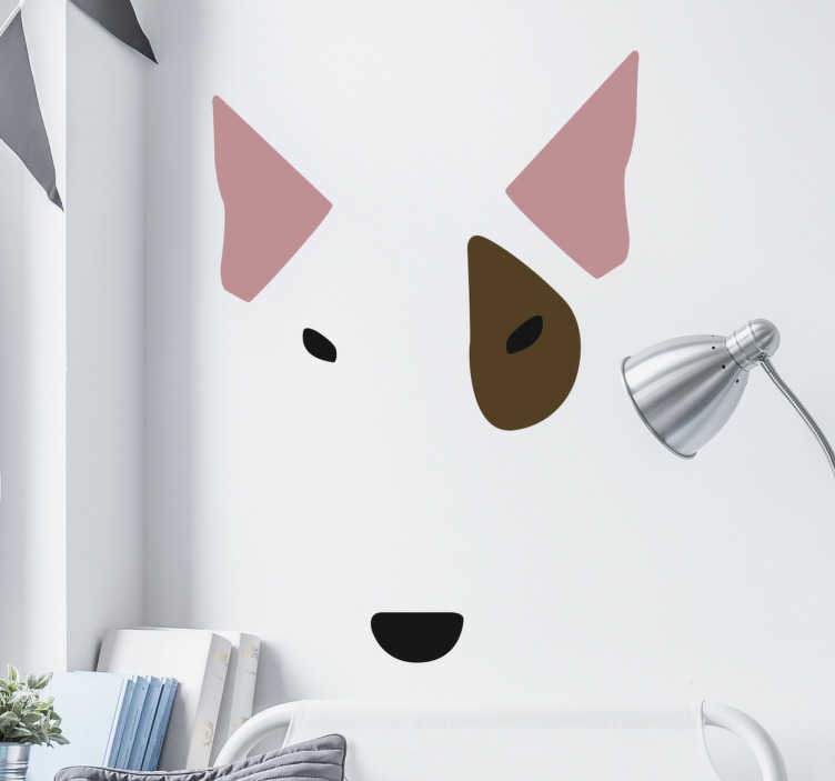 TenStickers. Bull Terrier Face Sticker. Bull Terrier Wall Sticker, a nice wall decoration for people who love Bull Terriers .