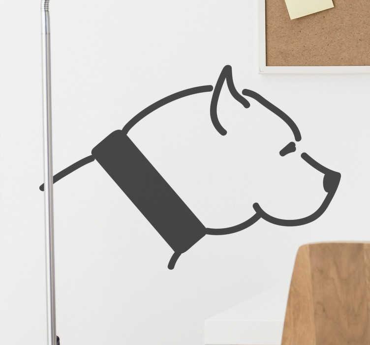 TenStickers. Naklejka na ścianę Pitbull. Naklejka ścienna przedstawiająca Pitbulla.Jesteś dumnym właścicielem Pitbulla? W takim razie ta dekoracja idealnie  sprawdzi się w Twoim mieszkaniu.