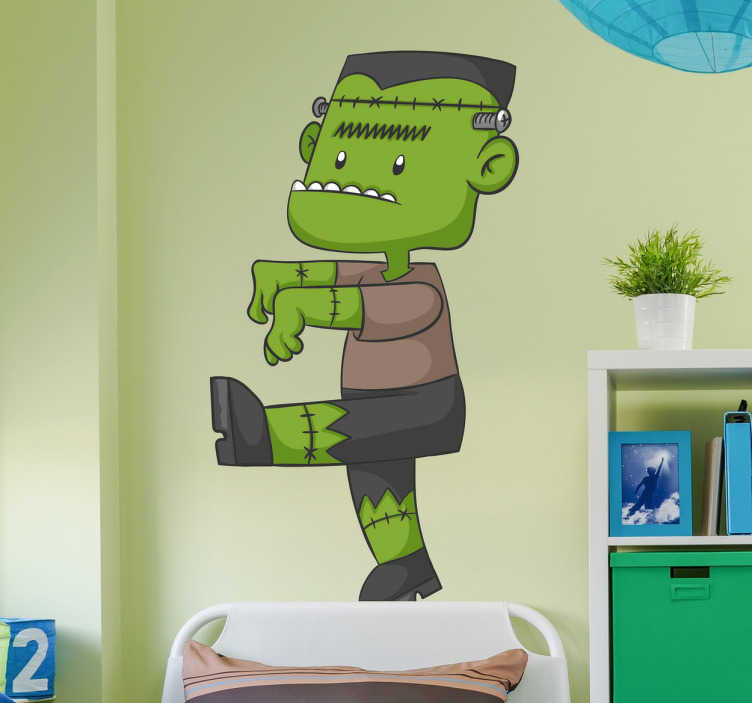 TenStickers. Adesivi per bambini Frankenstein. Adesivi per bambini economici e di grande qualità con una divertente illustrazione di un giovane Frankenstein.