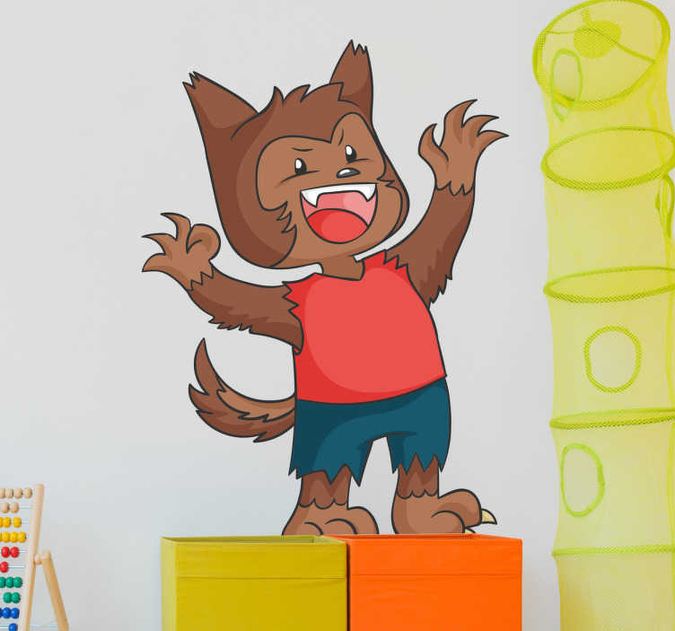 TenStickers. Baby Werewolf Wall Sticker. Baby wolf wall sticker with torn pants and red T-shirt. This wall decoration is a nice addition to your child's bedroom.