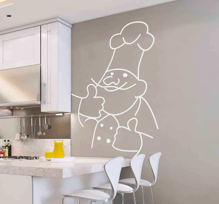 TenStickers. Naklejka dekoracyjna kucharz 2. Delikatna naklejka dekoracyjna przedstawiająca kontur szefa kuchni. Jeśli chcesz w elegancki sposób ozdobić Swoją kuchnię ta naklejka jest idealna dla Ciebie.