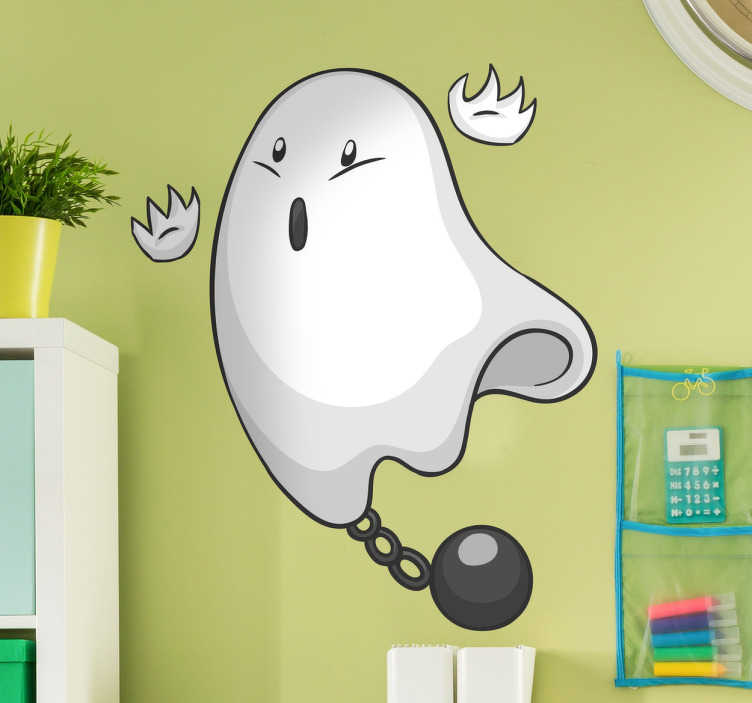 TenVinilo. Adhesivo infantil fantasma encadenado. Murales infantiles pared ideales para personalizar la habitación de tus hijos con una ilustración original y divertida de un fantasma.