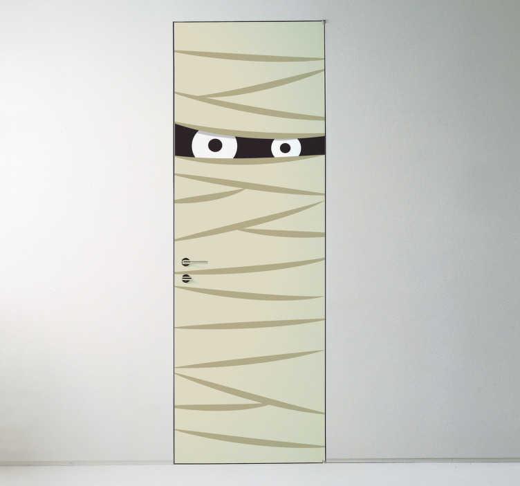TenStickers. Naklejka na drzwi mumia. Dekoracja ścienna przedstawiająca mumię na Halloween.