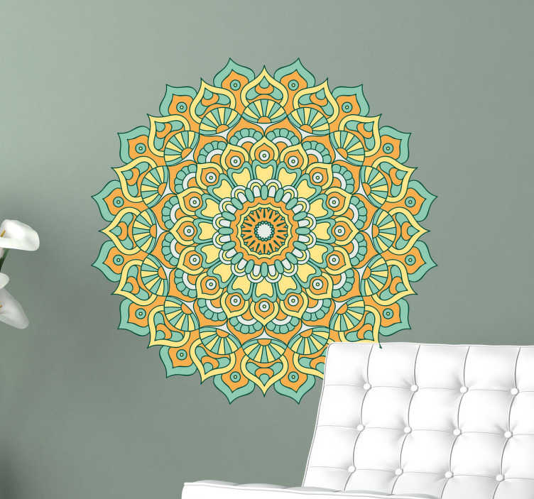TenStickers. Floral Mandala Wall Sticker. Wall Decal of a pretty floral mandala. A very colourful addition to your wall. Nice wall decoration for people who love mandala flower designs.