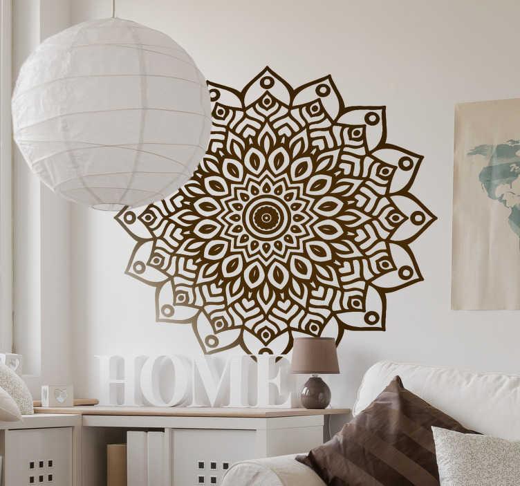 TenStickers. 만다라 벽 스티커. 만다라 데칼 - 장식 만다라의 플로랄 디자인. 만다라 연인을위한 놀라운 벽 장식. 만다라는 평온함을 발산하는 능력을 가지고 있습니다.
