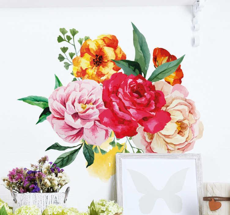 TenStickers. Muursticker Bloemen Waterverf. Muursticker van een boeket bloemen in de stijl geschilderd met waterverf. Deze fleurige decoratie vrolijkt binnen een mum van tijd een kale muur op.