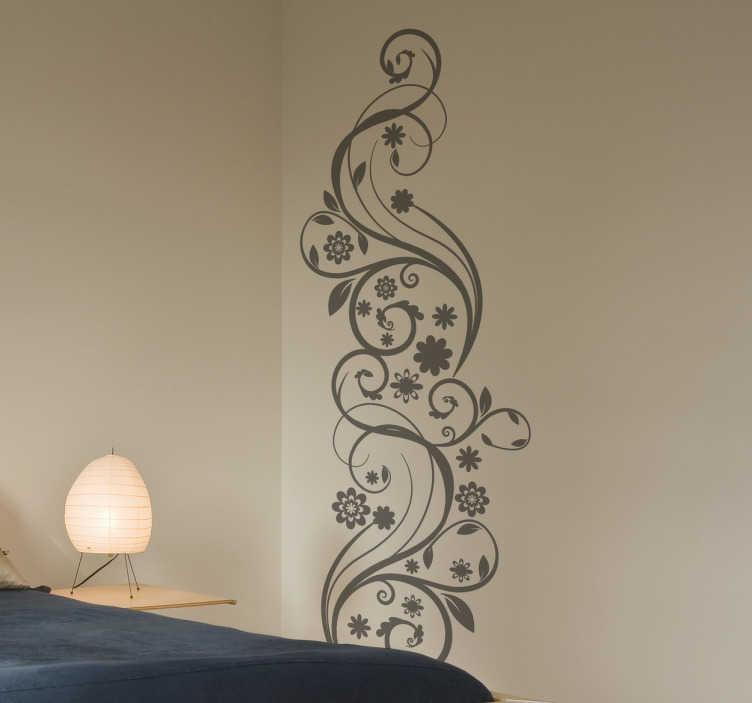 TenVinilo. Vinilo floral abstracto hiedra. Vinilo ornamental floral abstracto de una figura vegetal de dibujo detallada.