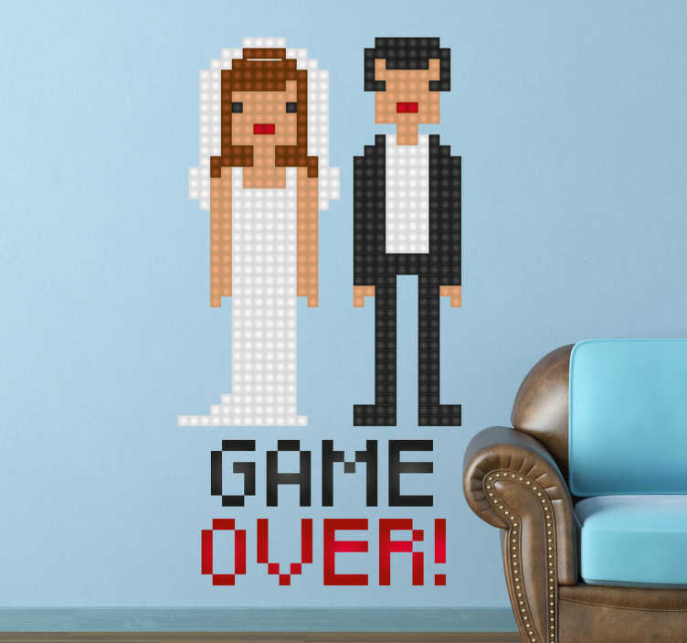 """TenStickers. Newlywed Game Over Sticker. A wall sticker of a married couple with the text """"Game Over"""" written underneath the newlyweds. The sticker signifies the single life is over."""