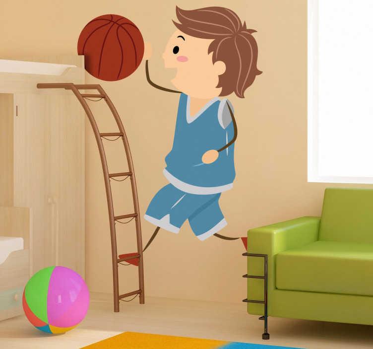 TenStickers. Naklejka dziecięca rzut do kosza. Zabawna naklejka przedstawiająca chłopca grającego w koszykówkę i wrzucającego piłkę do kosza. Oryginalna ozdoba do pokoju Twojego dziecka.