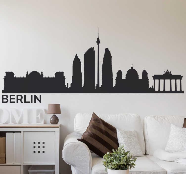 TenStickers. Muursticker skyline Berlijn. Deze sticker met de skyline van Berlijn is ideaal voor alle fans van deze hippe stad. Verkrijgbaar in verschillende kleuren en maten. Ervaren ontwerpteam.