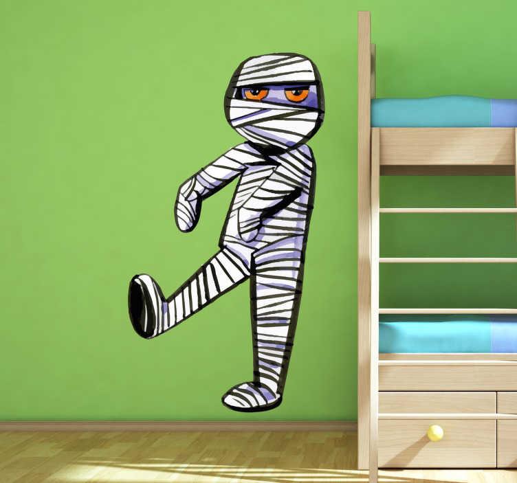 TenStickers. Muursticker Zombie voor Kinderen. Muursticker Zombie voor Kinderen, heel gevaarlijk oogt deze zombie niet, juist enigszins verveelt, een mooie wanddecoratie voor kinderen.