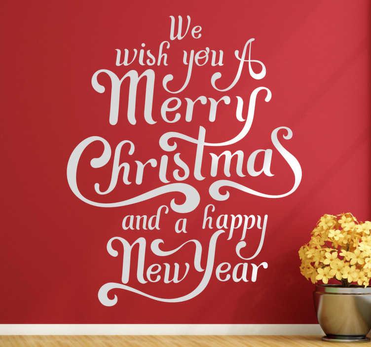 TENSTICKERS. メリークリスマス新年あけましておめでとうございます壁アート. この素晴らしい壁のアートでお祝い期間の準備をしてください。壁のステッカーは、私たちがあなたにメリークリスマスと幸せな新年を願うテキストで構成されています