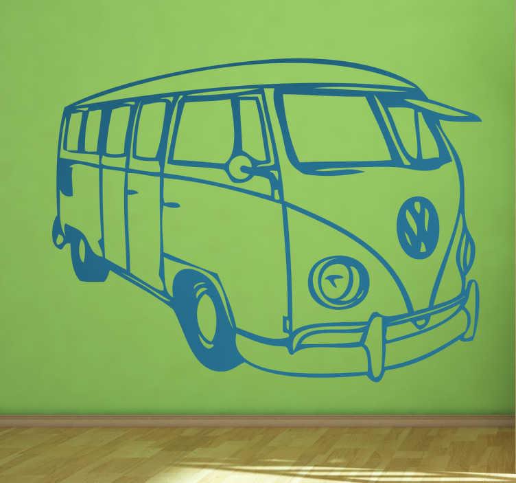 Tenstickers. Volkswagen buss bil dekal. Silhuett ritning vägg klistermärke av en volkswagen buss för att dekorera alla plana ytor i stil. Det finns i olika färg- och storleksalternativ.