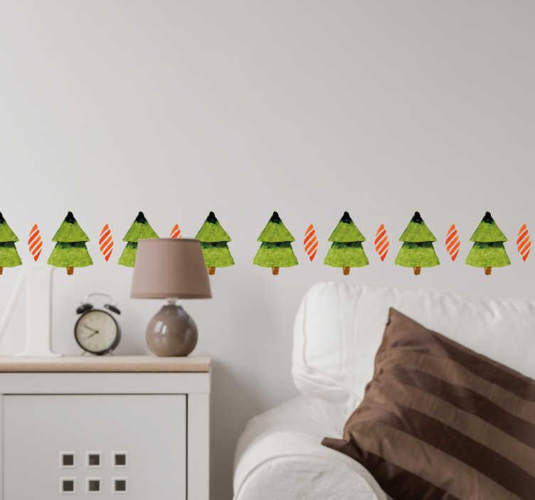 TenStickers. Naklejka świąteczna zestaw choinek. Naklejka świąteczna przedstawiająca kolekcję choinek. Wprowadż świąteczny nastrój do swojego mieszkania.