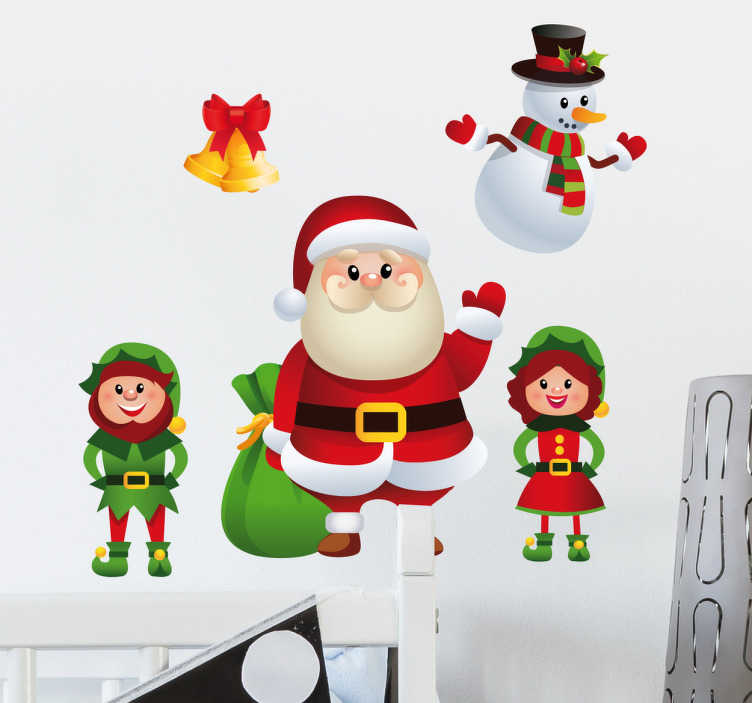 TenStickers. Muursticker Kerst Figuurtjes. Muursticker Kerst. Deze wanddecoratie met een kerstman, een mannelijke en vrouwelijke elf, sneeuwpop en belletjes maakt uw huis klaar voor de kerst.