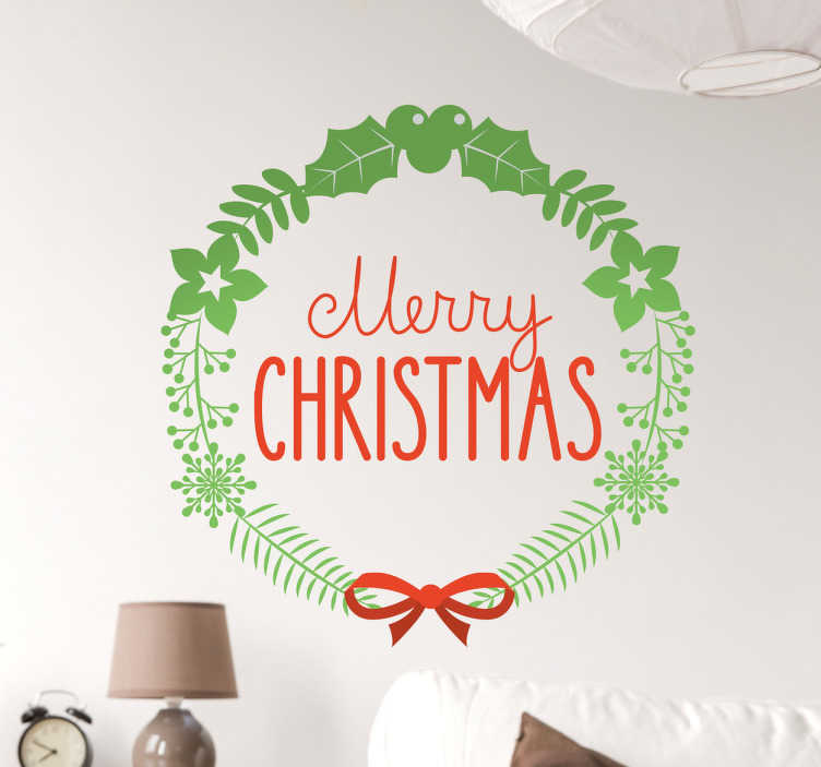 "TenStickers. Merry Christmas Holly Wall Sticker. Celebrate Christmas this year with this fantastic piece of wall art. This sticker consists of the phrase ""Merry Christmas"" written in an elegant font"
