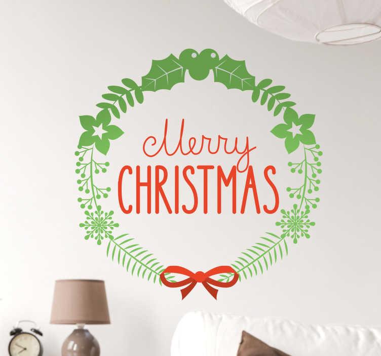 TenStickers. Sticker Merry Christmas couronne feuilles. Souhaitez un joyeux Noel avec ce sticker anglais Merry Christmas. Parfait pour décorer de manière originale votre vitrine d'entreprise.