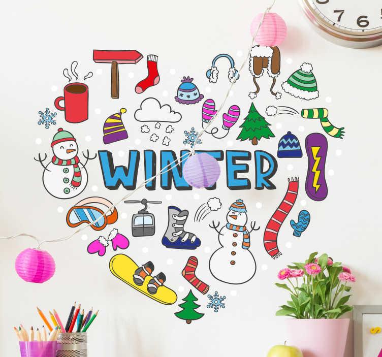 Sticker cœur hiver