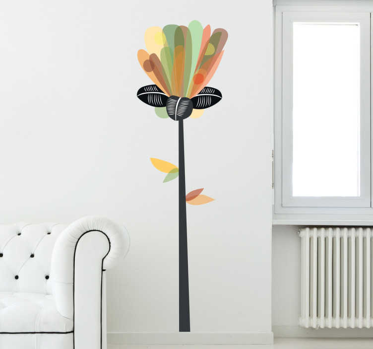 TenStickers. Naklejka ścienna poziomy kwiat. Naklejka ścienna przedstawiająca abstrakcyjny kwiat w poziomie.