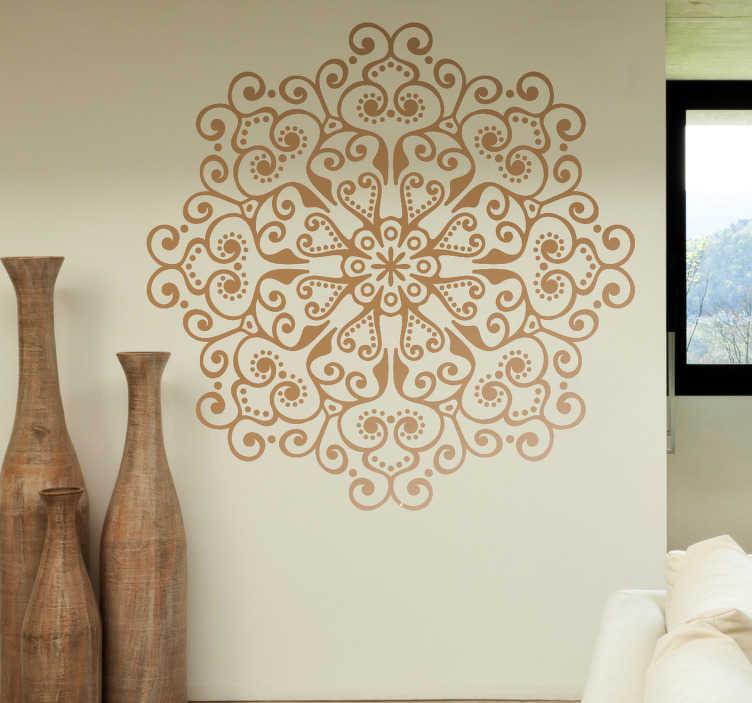 TenStickers. Naklejka na ścianę Kwiat mandala. Naklejka na ścianę przedstawiająca abstrakcyjny kwiat w eleganckim stylu świetnie pasującym do salonu jeśli chcesz wprowadzić kulturę hindi.