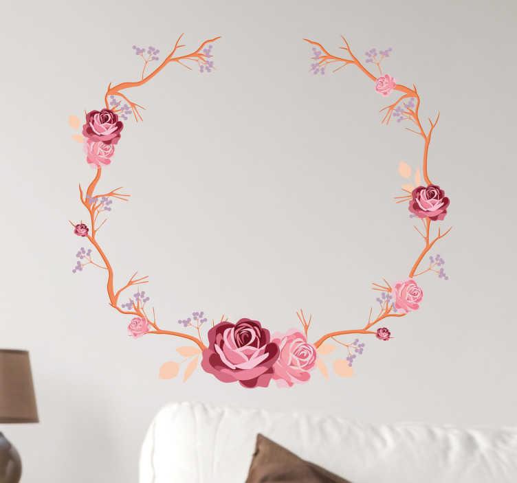 TenStickers. Naklejka ścienna wianek z róż. Dekoracja przedstawia wianek stworzony z róż i innych kwiatów.