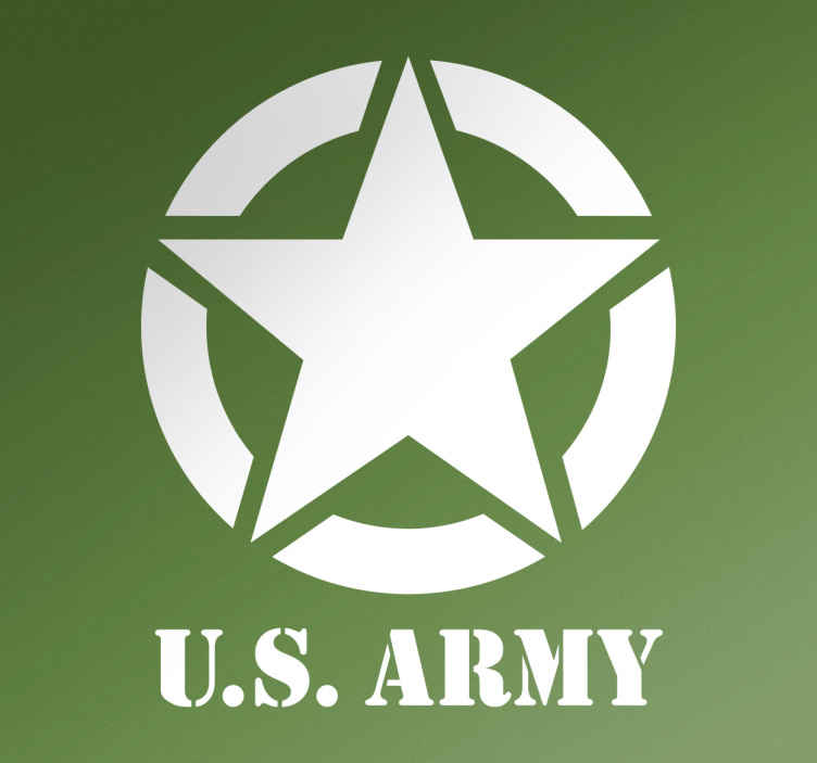 TENSTICKERS. 私たちの軍隊のステッカー. 私たちの軍隊の下のテキストを持つ星は、アメリカ軍に感心する人のためのクールな壁の装飾です。