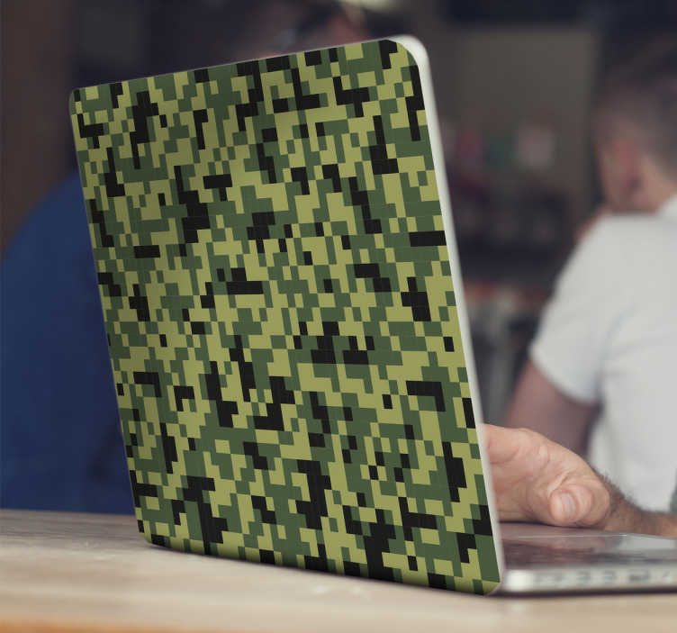 TenStickers. Sticker camouflage pixelisé PC. Sticker camouflage pixelisé idéal pour ordinateur portable et autres surfaces.