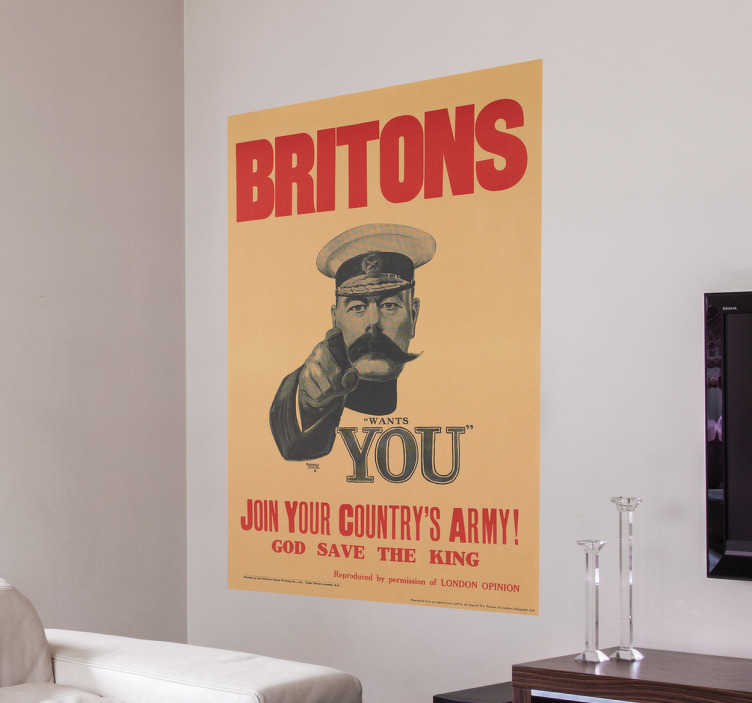 TenStickers. Wandtattoo Plakat Britons wants you. Dieses originelle Wandtattoo Plakat Britons wants you eignet sich ideal zur Dekoration in Ihrem zu Hause.