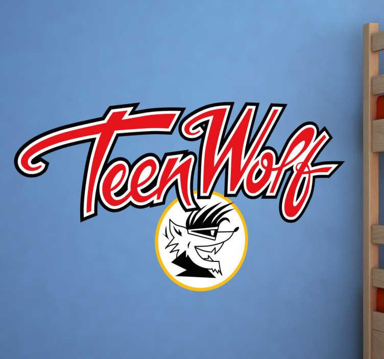 """TenVinilo. Vinilo Teen Wolf. Pegatinas frikis con una representación del logotipo de tu película favorita de los años 80: """"Teen Wolf""""."""