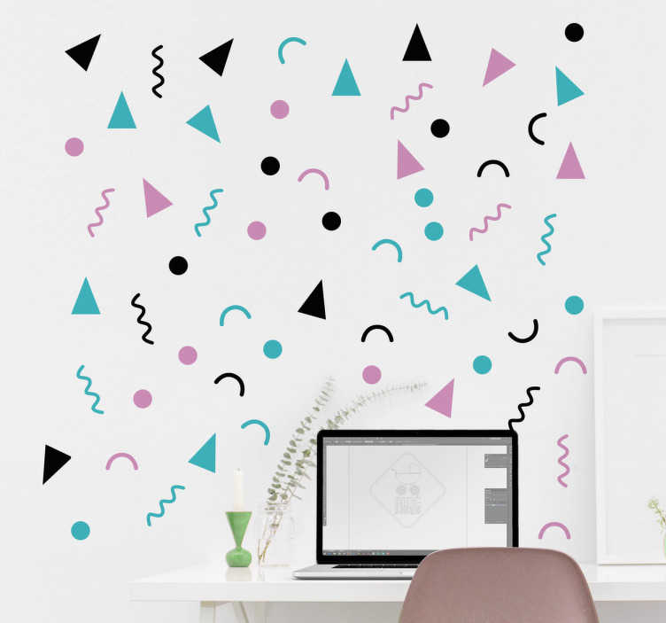 TenStickers. 80s Geometric Shapes Wall Sticker. Wall Decal of geometric shapes from the 80s. These cute and funny shapes come in different colours and brighten up any wall.