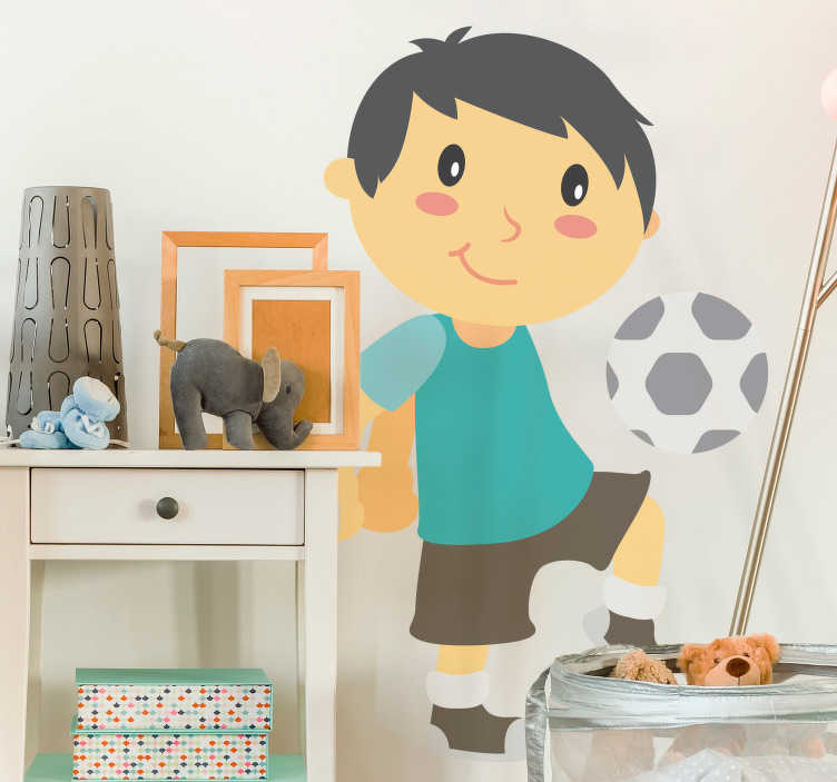 TenStickers. Comic Football Boy Wall Sticker. Sports Stickers - Comic style illustration of an active boy playing football. Designs ideal for decorating bedrooms and play areas for kids.