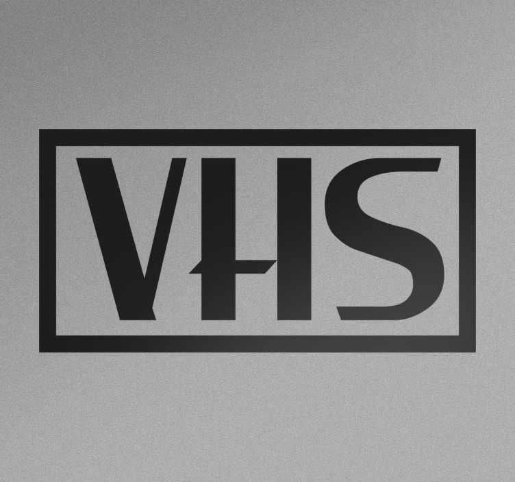 TenVinilo. Vinilo logotipo VHS. Vinilos retro para amantes de la tecnología de los años 80 con el característico logo de la marca de videos domésticos.