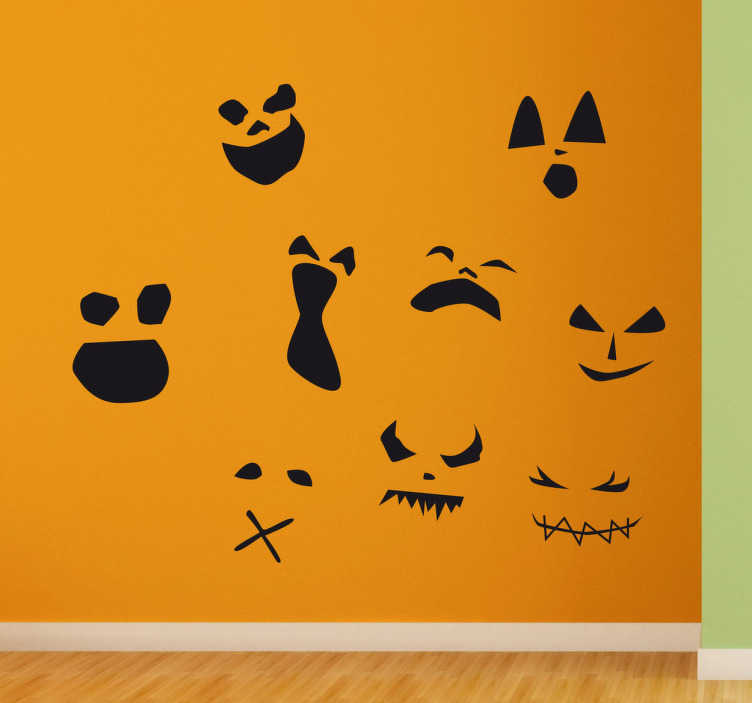 TenStickers. Halloween Scary Face Stickers. This Wall Sticker of nine scary faces prepares the walls in your home for an extra spooky Halloween.