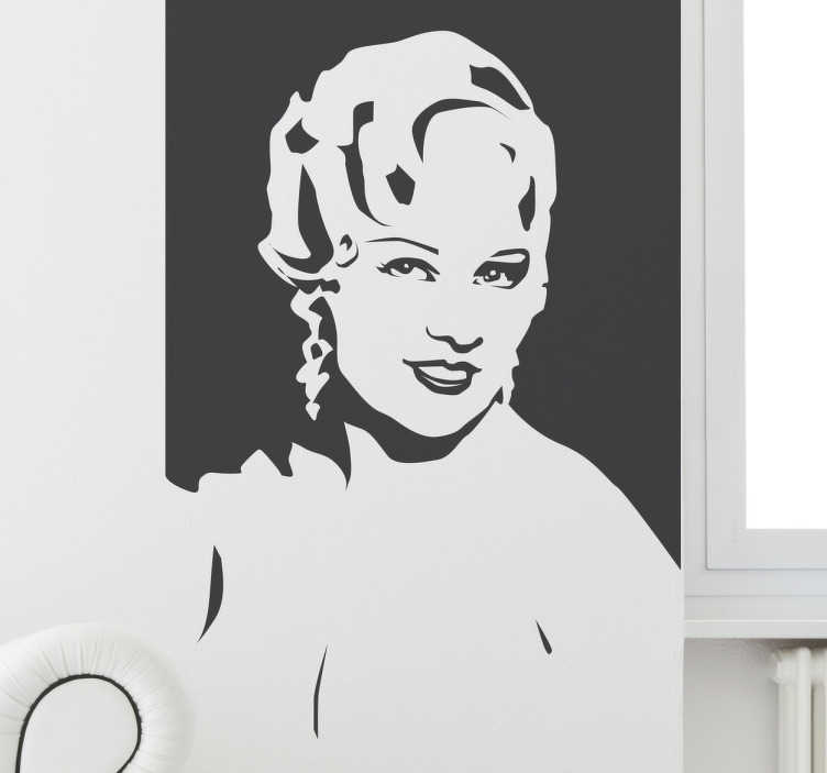 TenStickers. Muursticker Mae West Silhouet. Muursticker met het silhouet van de Broadway en Hollywood legende Mae West. Leuke wanddecoratie voor filmfans.